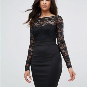 NWT City Goddess/ASOS black lace body con dress